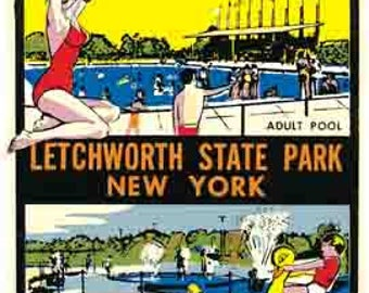 Vintage Style Letchworth State Park NY New York     1950's   Travel Decal sticker