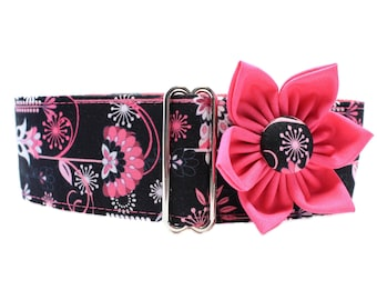 Martingale Dog Collar and Flower, Pink Martingale Collar, Hot Pink and Black Dog Collar and Flower, Martingale Collar Greyhound
