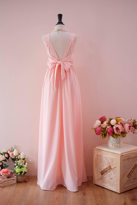 Langes Kleid Abschlussball Brautjungfer Kleid Rosa erröten