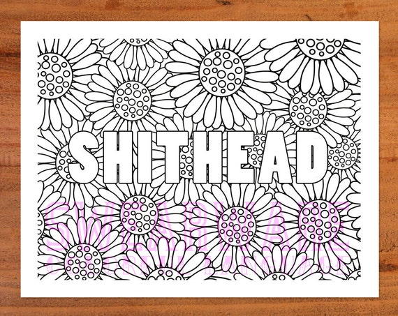 Shithead Swear Word Coloring Page Printable Instant Download Adult Curse Rude Colorful Fun Funny From Swearware On Etsy Studio