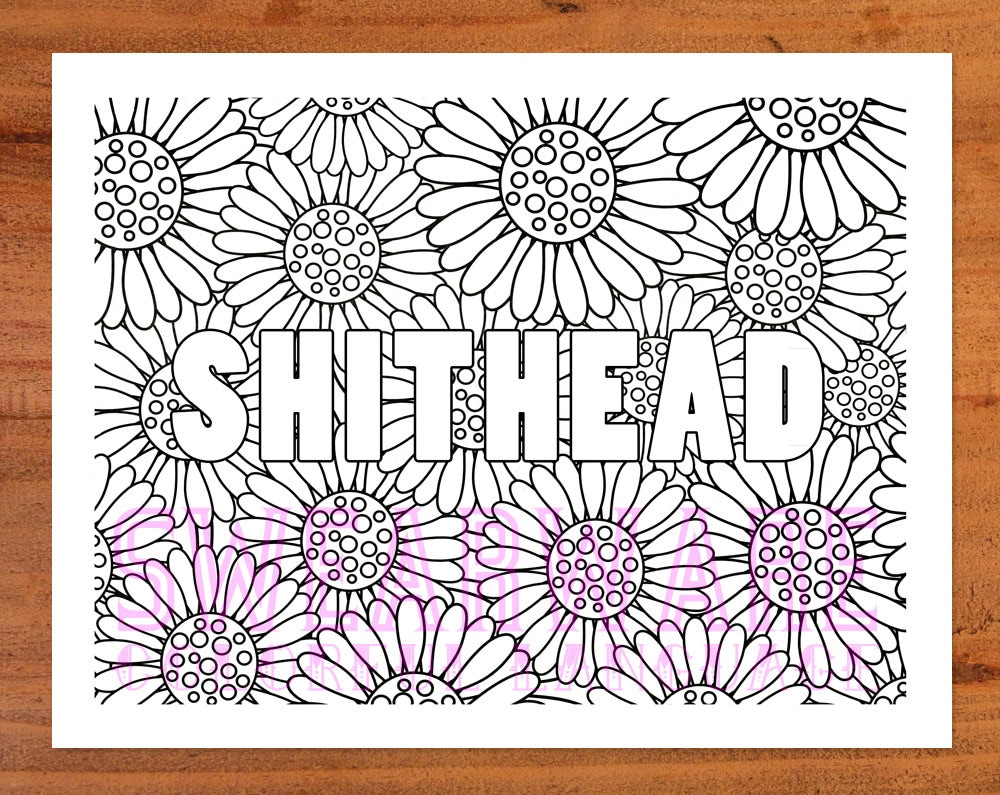 Shithead Swear Word Coloring Page Printable Instant Download
