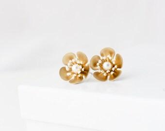 Cherry Blossom Earrings Matt Gold Stud Earrings Wedding Jewelry Bridal Earrings  Flower Earrings Gold Earrings PETAL STUD EARRINGS