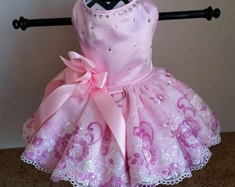 Dog Dress Pink  with embroidery lace