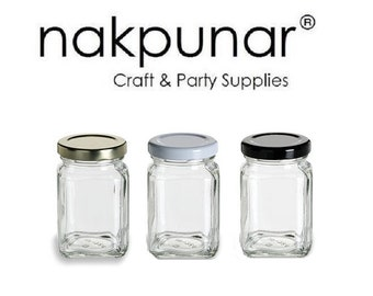 3.75 oz (110 ml) Square Glass Jar with your color Choice of Plastisol Lined BPA Free Lid: Gold, White, Black