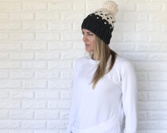 Two-Tone Chunky Fair Isle Slouchy Hat with Pom-Pom | Charcoal Grey/Fisherman | THE MODELLO