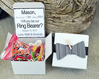 Will You Be My Ring Bearer Ring POP ~ Bow Tie Box Invite Time To Suit Up Rustic POP the Question Bowtie