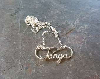 Handmade, Personalized, Sterling Silver, Custom, Wire, Name, Word, Necklace, Bridesmaid, Jewelry, Gift, Mom