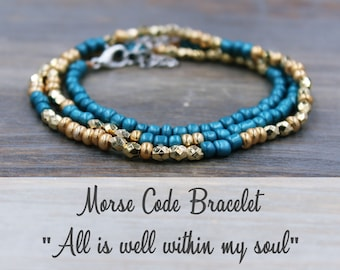 All is Well within my soul Morse Code Bracelet, All is Well Bracelet, Christian Jewelry, It is well with my soul Jewelry, Mantra Bracelet