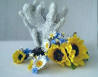 sunflower hairclip, sunflower hair, cold porcelaine, bridal sunflower, bride yellow hairclip, bridesmaids sunflower, sunflower earrings
