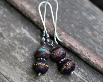 Nepalese bohemian dangle earrings / sterling silver earrings / wooden bead earrings / gift for her / jewelry sale / long dangle earrings