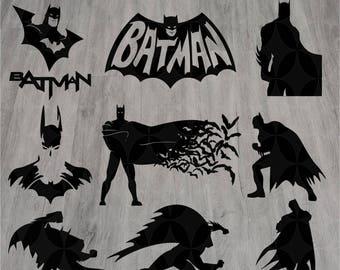 9 Batman svg, Superhero svg, Silhouette svg, Cut files, Batman svg files, Batman clipart, Eps, Dxf, Svg, Png, Instant download, Cartoon svg