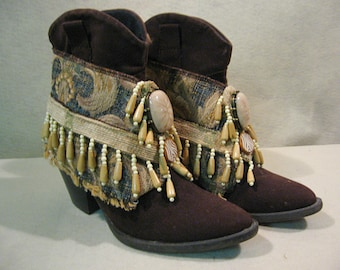 Boot Accessories, Tribal Boot Cuffs, Tribal Style, Beaded Boot Wraps, Boho Boot Bling, Boot Embellishment, Boot Jewelry, Boho Style