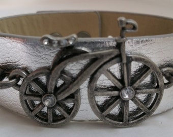 Bicycle with rhinestones leather wrap or cuff bracelet