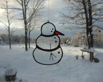 snowman stained glass suncatcher