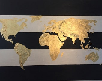 Large original world map painting world map map art globe 24x 36 striped gold leaf world map original gold leaf map of the world gold leaf globe on canvas gumiabroncs Choice Image
