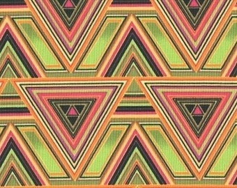 Sale Fabric Neon Triangles Fabric 1/2 Yard by Diane Mancini for Blank Quilting