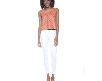 Cropped African Print top, Ankara crop top, Strawberry Print Vest, Summer Vest top