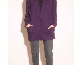 Vintage 1980s Wilson Eggplant Purple Pocket Wool Cardigan Pullover size M