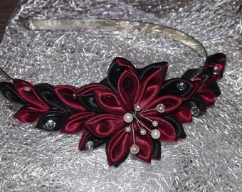 Burgundy and black kansashi headband