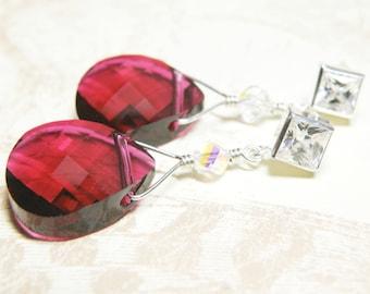 Ruby Crystal Earrings, Red Teardrop Swarovski Crystal, Sterling Silver Cubic Zirconia Stud, Christmas Wedding Jewelry, July Birthday