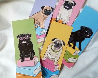 Pugs on Books - Bookmarks - Eco-friendly Set of 5