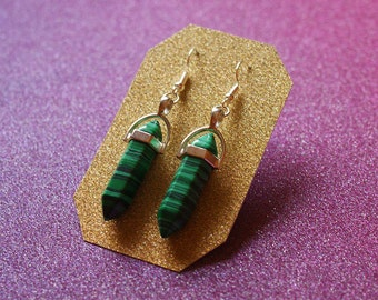 Green Malachite Crystal Earrings, Sterling Silver Earrings, Imitation Stone Earrings, Crystal Earrings, Drop Earrings, For Her