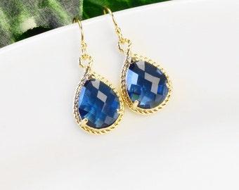 Teardrop Earrings - Sapphire Earrings - Blue Earrings for Women - Bridesmaid Jewelry - Bridesmaids Earrings - Navy Earrings - Glass Earrings