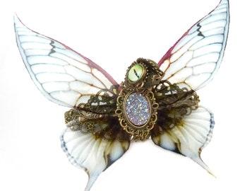 Steampunk hair clip dragon fairy purple