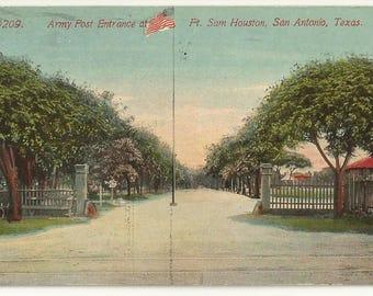 1910s Divided Back DB Postcard- Army Post Entrance at Fort Sam Houston, San Antonio, Bexar, Medina, Comal Counties, Texas, TX. ~ Free Ship