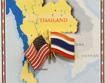Thailand and US Double Flag Pin / Tie Tack / Lapel Pin / Friendship Flag Pin