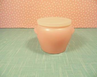 Vintage Pink Glasbake Vanity Jar - Vintage 1950s Bathroom Decor