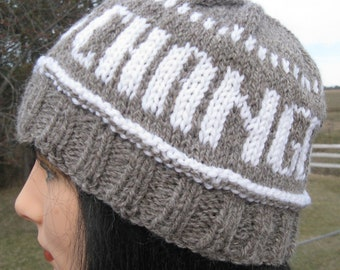 Handmade Knit Hat, Change for Peace Hat made with my FarmGrown Alpaca and Wool yarn