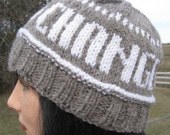 Chapeau tricoté à la main, changement pour la paix chapeau fait avec mon fils FarmGrown alpaga et laine
