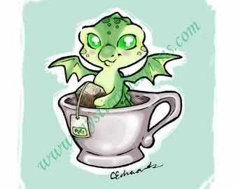 Green Tea Dragon Doodle Art Print
