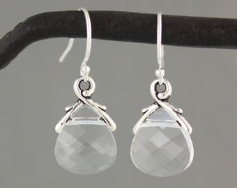 Clear Crystal briolette earrings- sterling silver,  Swarovski briolettes - free shipping in USA - Winter - Ice Drops
