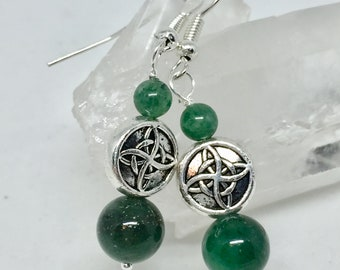 Aventurine Celtic knot earrings, aventurine jewelry, dark green stone earrings, green stone jewelry, aventurine earrings, green Celtic knot