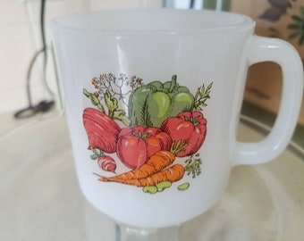 Vintage Glasbake Vegetable Garden Milkglass Mug