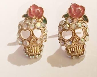 Crystal Skull Stud Earrings