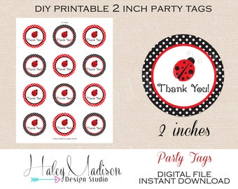 Ladybug Thank you Tags, Favor tags INSTANT DOWNLOAD