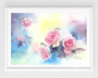 "Original flower watercolor,blooming roses,dream colors,original painting,8""3x11""8,aquarelle originale,garden,home decor"