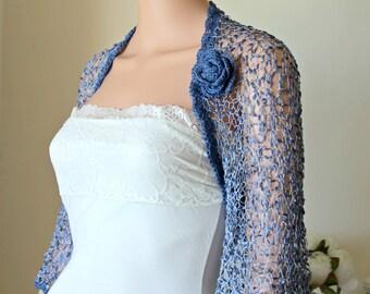Blue luxury bridal bolero, Wedding women silk shrug