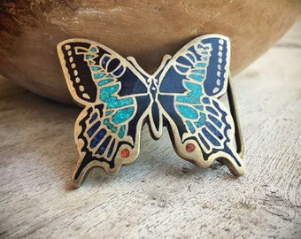 Brass Butterfly Belt Buckle with Crushed Turquiose Coral Lapis Inlay, Southwestern Buckle