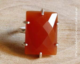 Ring chalcedony ring silver 925 ring large silver stones chalcedony silver ring cabochon ring Red Orange Color Carnelian