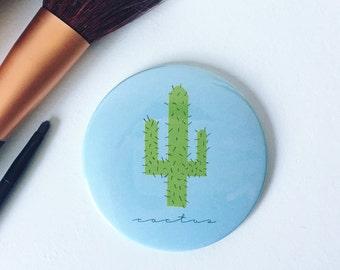 Cactus Print Pocket Mirror- Small Mirror, Handbag Mirror, Stocking Filler, Small Gift