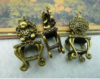 3pcs 18x42mm The Chair and Bear Antique Bronze Retro Pendant  Charm For Jewelry Pendant C2140