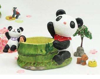 Little Cute Panda Planter, Succulent Planter, Terrarium Miniature,Fairy Garden Decor,DIY Terrarium Succulent Accessories,Home Decor