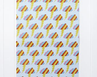 Wrapping Paper-Rainbow Wrapping Paper-Lightning Bolt Wrapping Paper-Fun Giftwrap-Wrapping Sheets-Giftwrap for Teenager