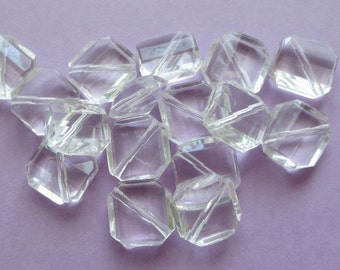 Acrylic Faceted Crystal Clear Beads - Square Shape - 13mm x 13mm -  25 pcs