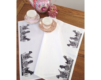 Handmade Lino Print Chicken Tea Towel 'Gossiping Over the Garden Wall.'