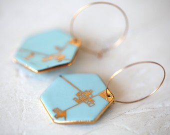 Dyle, blue porcelain earrings